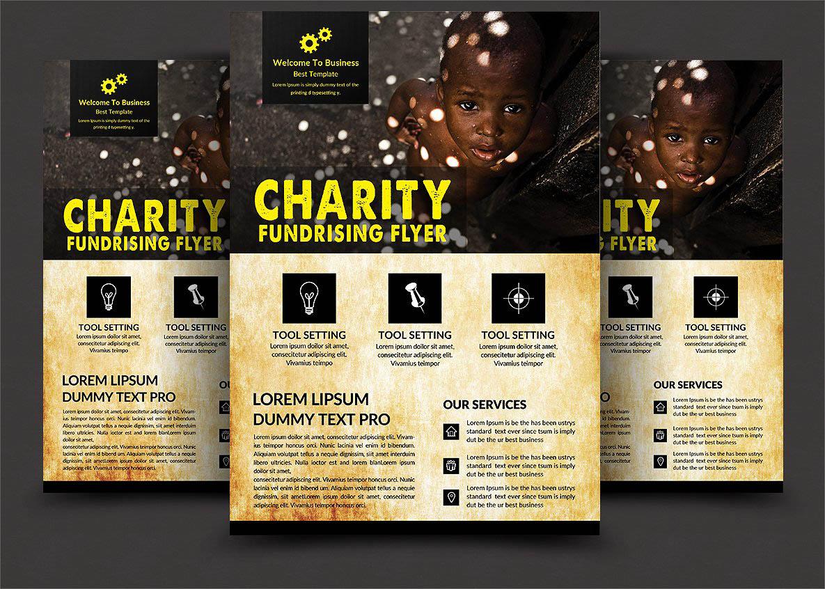 慈善筹款活动传单海报模板 Charity Fundraisers Flyer Templates