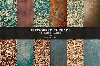 网络烫金背景纹理 Networked Threads: Gold Backgrounds