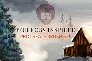 Procreate笔刷下载 Bob Ross Inspired Procreate Brushes