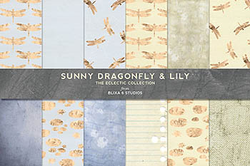 烫金阳光背景纹理 Sunny Gold Dragonfly & Lily Patterns