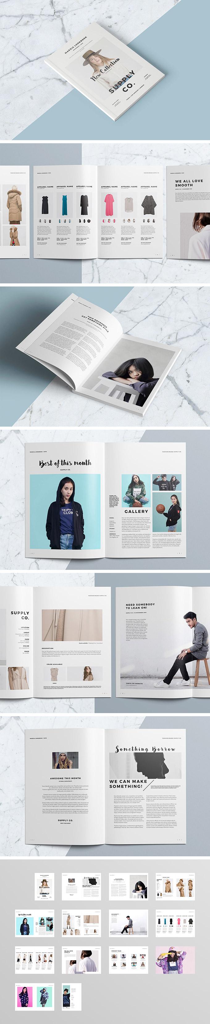 时尚的InDesign杂志画册设计模版下载设计素材模板
