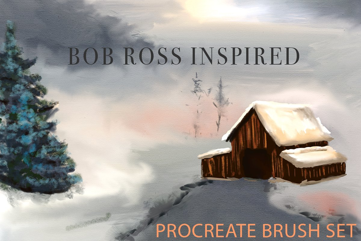 Procreate笔刷下载 Bob Ross Inspired Procreate Brushes设计素材模板