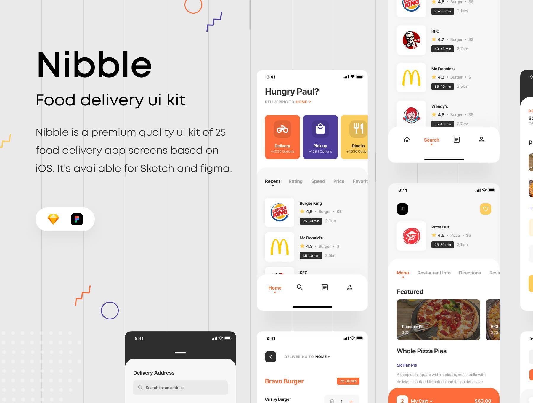 餐饮送餐服务类iOS APP UI KIT 界面设计模板下载[Sketch,fig]