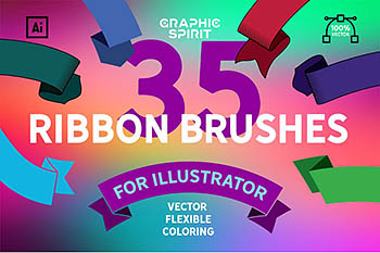 35个彩虹笔刷套装 35 Ribbon Brush Set For Illustrator