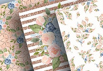蓝色桃色水彩手绘图案数码纸张设计素材 Watercolor Blue Peach digital paper pack