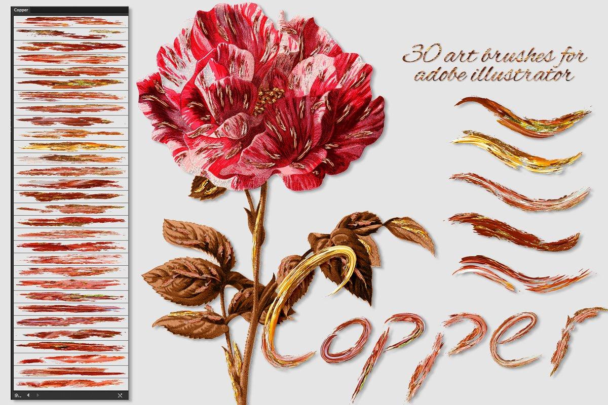 插画家的数字绘画艺术铜色笔刷设计素材模板