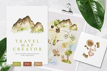 水彩手绘夏季假日旅游必备物品游玩玩具山川海边海水素材