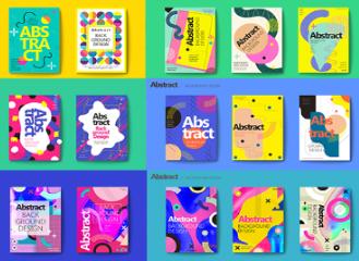 创意时尚潮流封面排版渐变背景海报几何色块设计AI矢量H5素材模版 AI0036
