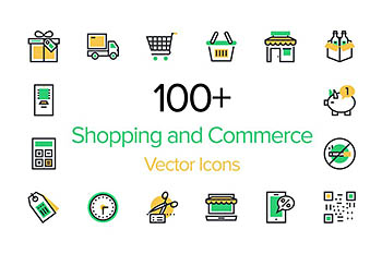 100个电商和购物图标 100+ Shopping and Commerce Icons
