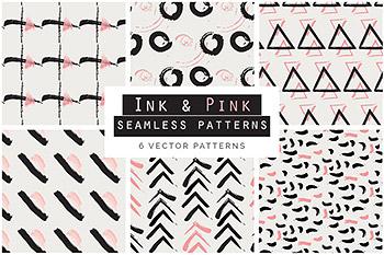 背景纹理墨水手绘无缝 Ink & Pink Seamless Patterns
