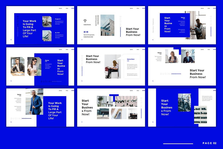 经典蓝色商业计划书PPT模板[PPTX]设计素材模板