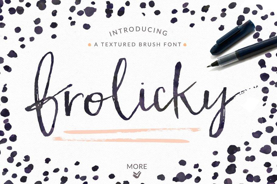 手写笔刷字体 Frolicky – A Brushed Font + EXTRAS设计素材模板