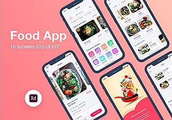 时尚漂亮的美食点餐全流程APP UI KIT套装模板下载 [XD]