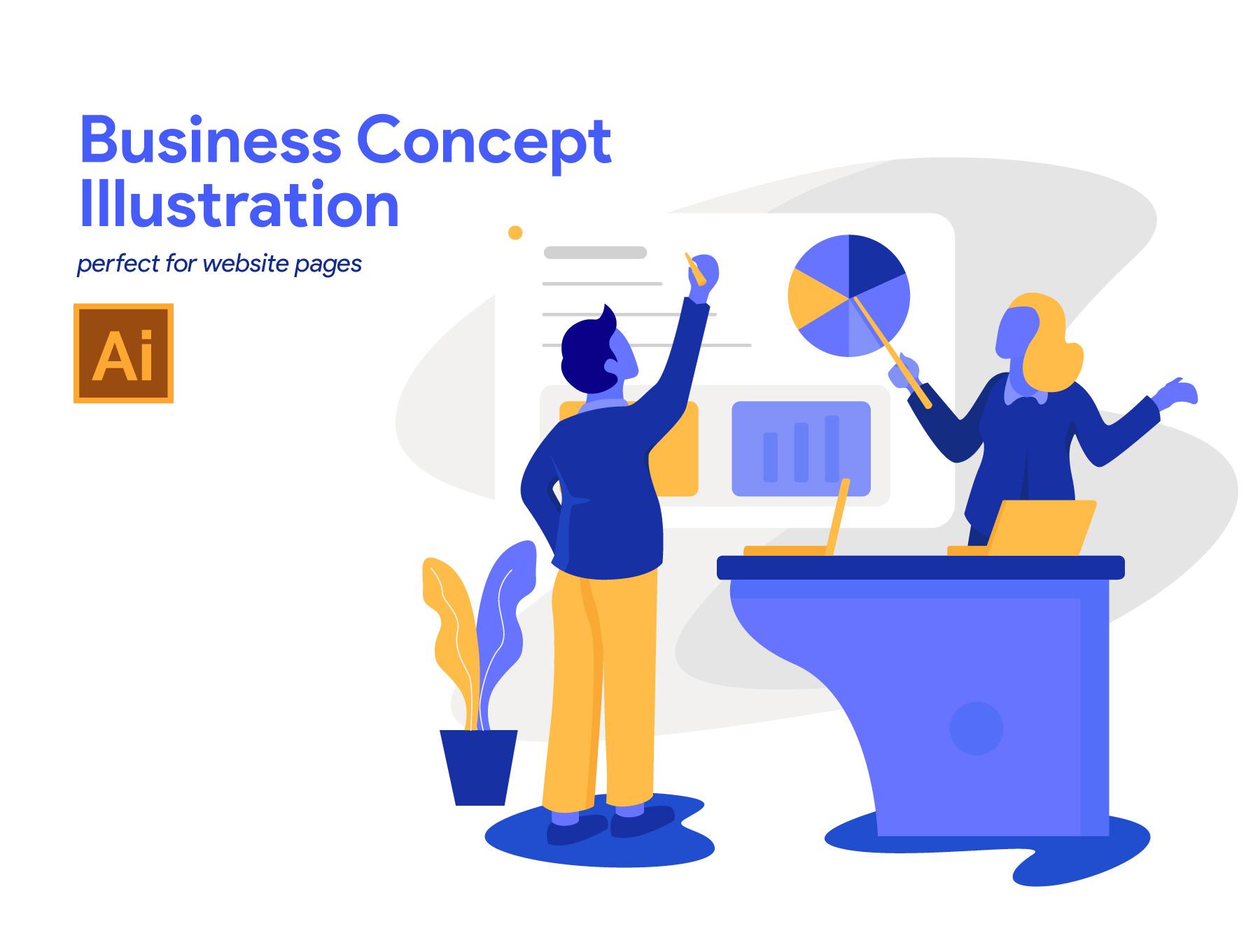 商业概念插画AI矢量图下载[Ai]设计素材模板