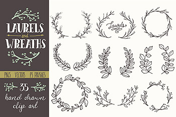 橄榄枝花卉图形插画绘画 Whimsical Laurels & Wreaths Clip Art