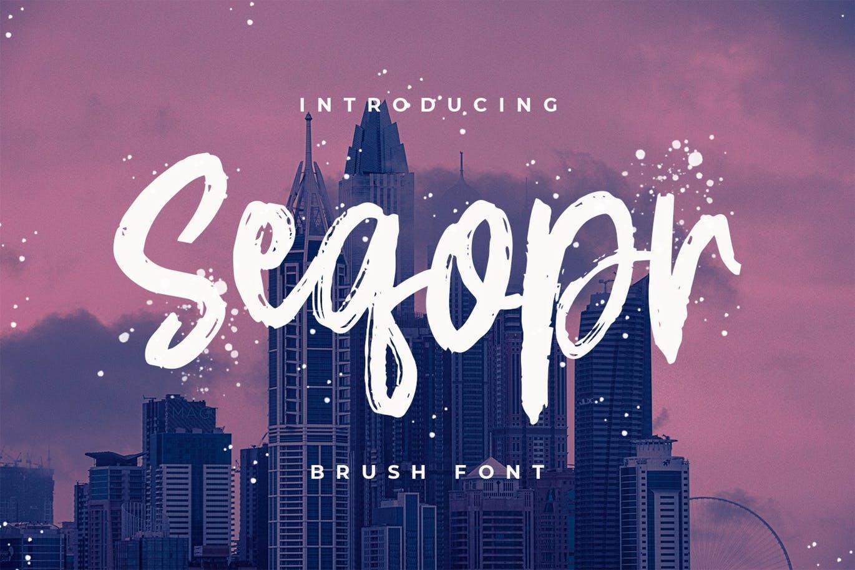 Logo/印刷设计英文笔刷字体 Seqopr – The Brush Font设计素材模板