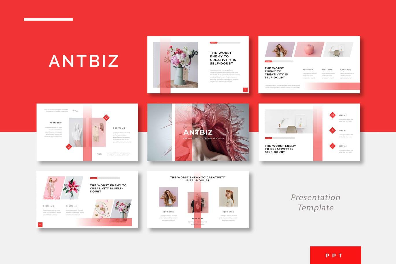 PPT模板红白配渐变创意创新现代布局排版商业营销领域幻灯片设计素材模板