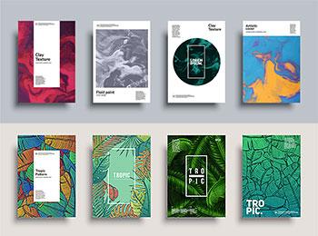 创意热带植物叶子ins卡片封面传单海报背景矢量图片平面设计素材 AI0034