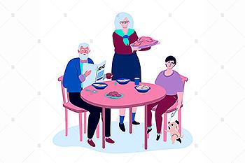 家庭聚餐-扁平设计风格矢量插画素材 Family having dinner – flat design illustration