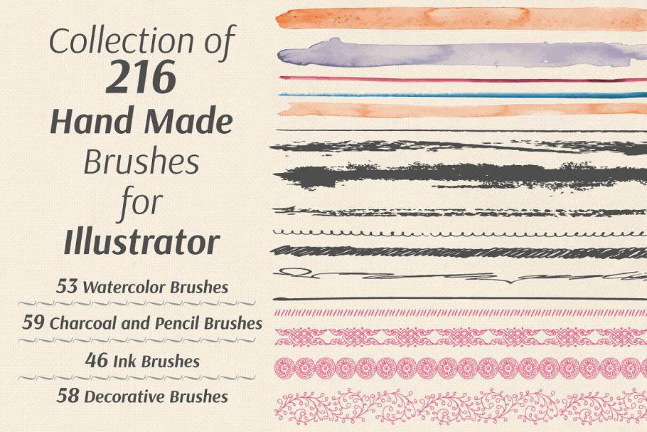 多种肌理效果的手绘笔刷 Collection of Hand Made Brushes
