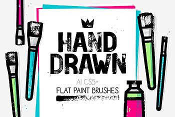 肌理笔刷下载 AI flat paint brushes