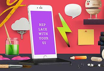时尚立体元素海报UI场景手机样机贴图设计素材PSD