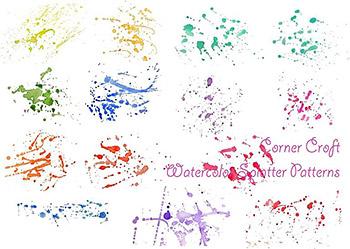 笔墨水彩颜料飞溅泼墨素材 Watercolor Paint Splatter Patterns