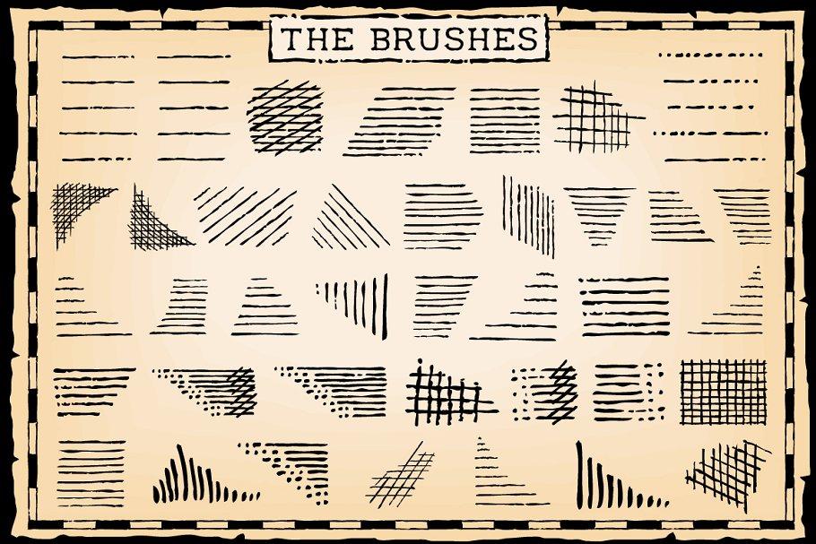 复古钢笔和墨水笔刷 Vintage Pen and Ink Brushes设计素材模板