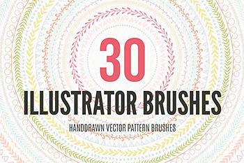 30个手绘矢量图案笔刷下载 30 Handdrawn Vector Pattern Brushes