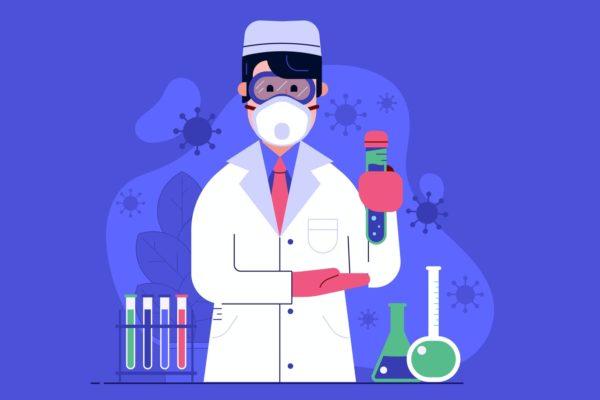 科研人员实验室展示病毒疫苗矢量插画素材 Young Doctor Presents Virus Vaccine in Lab
