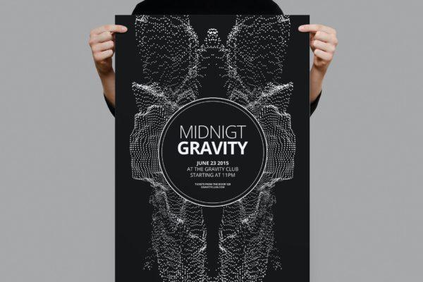 午夜狂欢迷幻粒子几何图形海报传单模板 Midnight Gravity Flyer / Poster