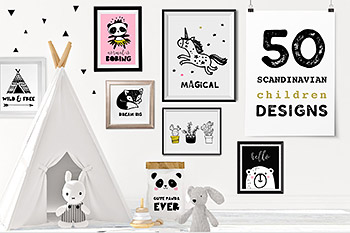 时尚插图绘画装饰素材 Scandinavian style decor & design