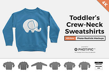 长袖卫衣针织衫样机 Toddler's Crew Neck Sweater Mockups