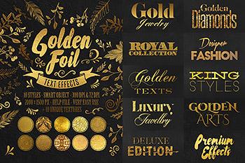 20种金箔效果PSD字体特效图层样式黄金锡箔纸金属PS文字设计素材 T0012
