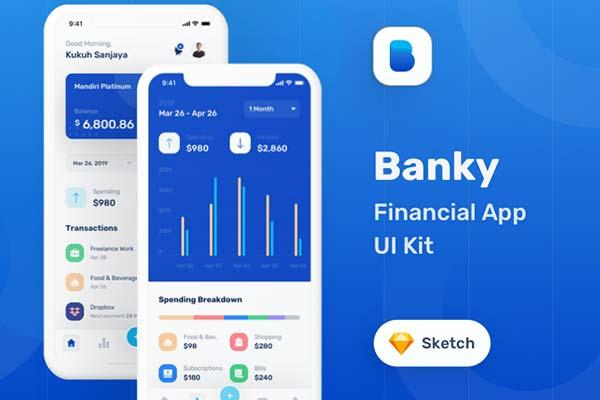 APP UI一流的 iOS 金融  KIT 套装模板下载 iOS Ui app设计