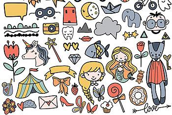 时尚手绘卡通动物海报设计背景图案儿童节可爱AI矢量装饰元素字体 AI0023
