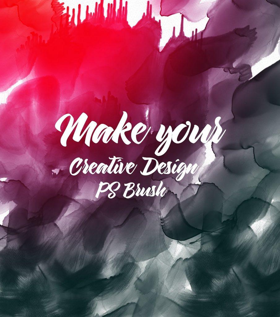 高品质手绘水彩PS刷套装打包下载设计素材模板