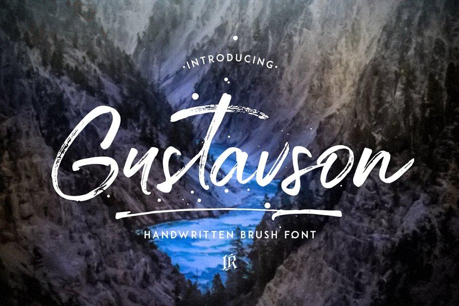 手写书法字体 Gustavson – Script Font设计素材模板