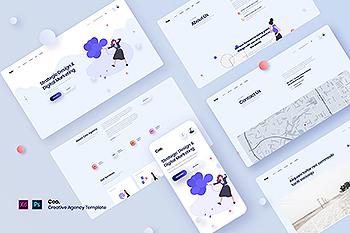 时尚高端简约扁平化的高品质广告代理网站banner着落页插画设计模板UI KITS(PSD,XD)
