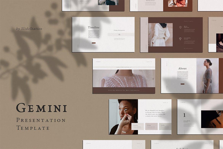 优雅时尚高端秋季秋天配色的高品质powerpoint幻灯片演示模板(pptx)设计素材模板