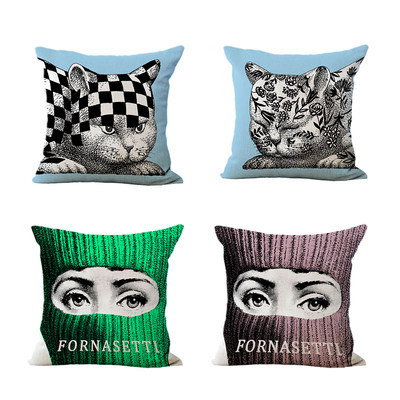 Italian face pillowcase pillowcase Nordic art sofa model room clubhouse cotton linen cushion pillowcase waist