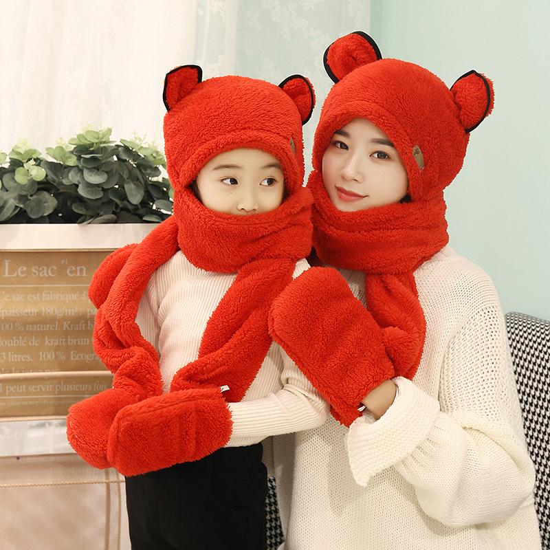 帽子女秋冬百搭兔耳朵帽子会动网红儿童帽子围巾一体女冬可爱韩版