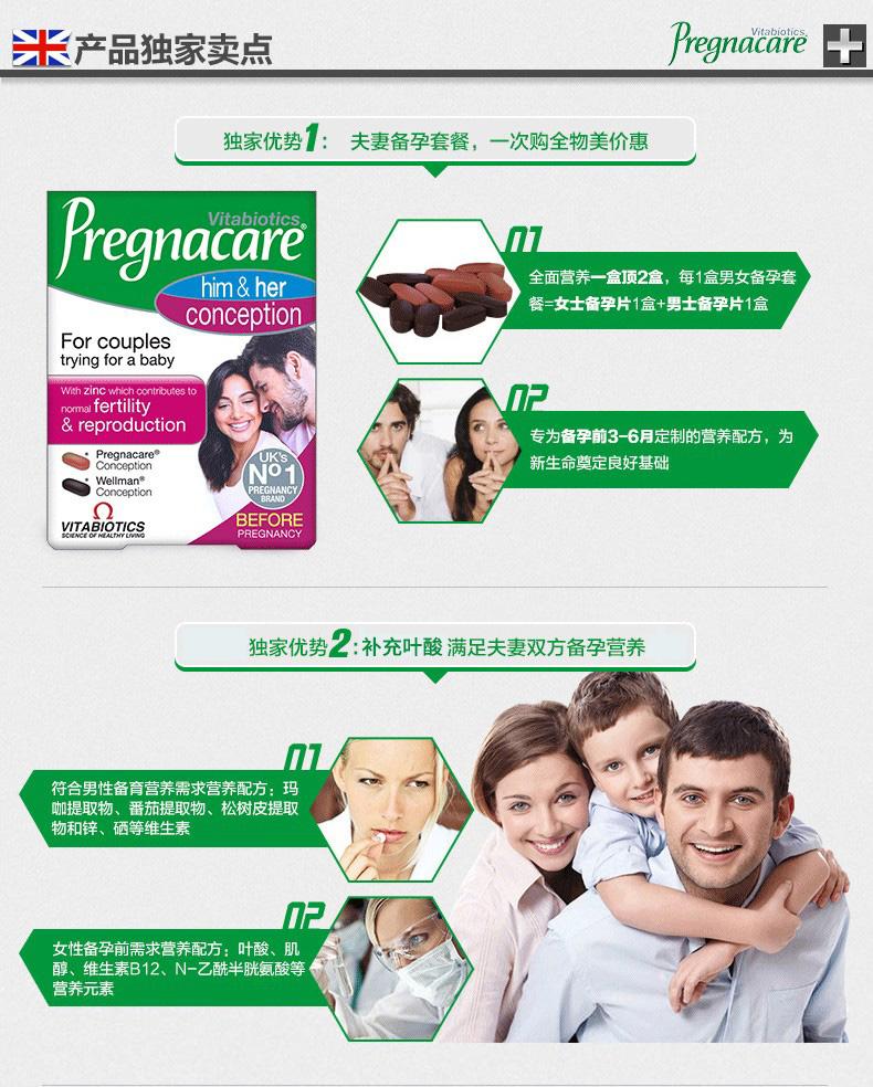 英国vitabiotics pregnacare男女孕前备孕营养片含叶酸锌硒60粒*2 产品系列 第4张