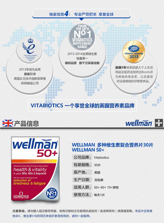 新品首发 vitabiotics 男士复合维生素胶囊30粒 维护睾丸激素 产品系列 第4张