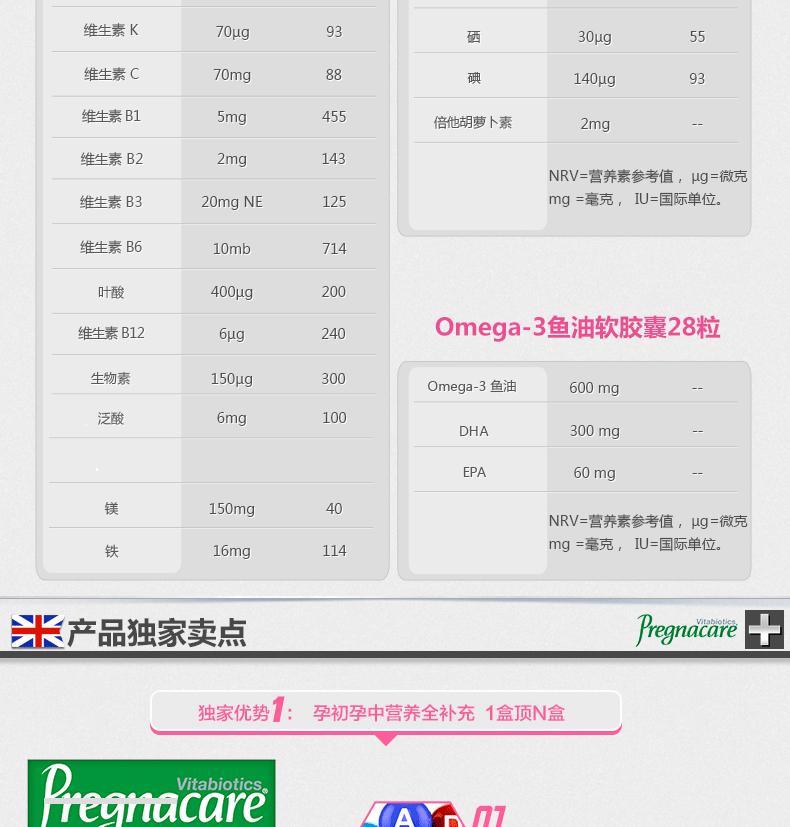 薇塔贝尔pregnacare孕妇营养片plus含维生素叶酸铁DHA 56粒 孕产系列 第4张
