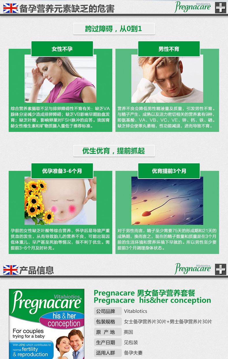 B:vitabiotics pregnacare男女孕前备孕营养片 60粒含叶酸和玛卡 ¥188.00 产品系列 第3张