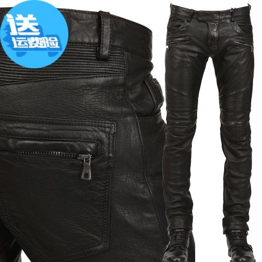 Осень-зима новая коллекция корейская  версия Мотоциклетная локомотивная панк-карта улиц мужской приталенный черный кожзаменитель Харли вымытые кожаные штаны