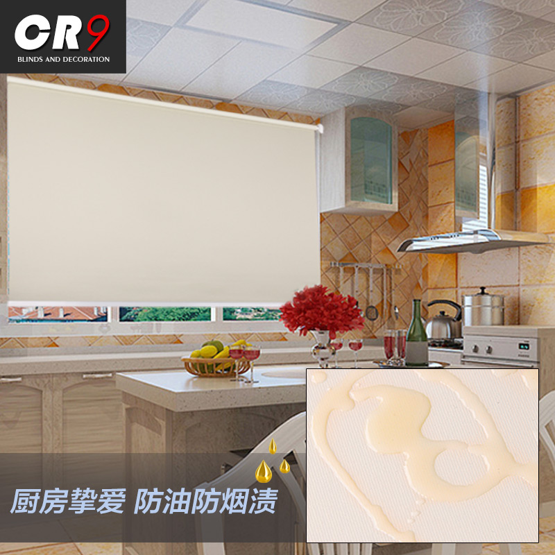 CR9 Waterproof Roller Blind Bathroom Bathroom Kitchen Curtain Oil Proof  Full Blackout Insulation Balcony Automatic Lifting Custom