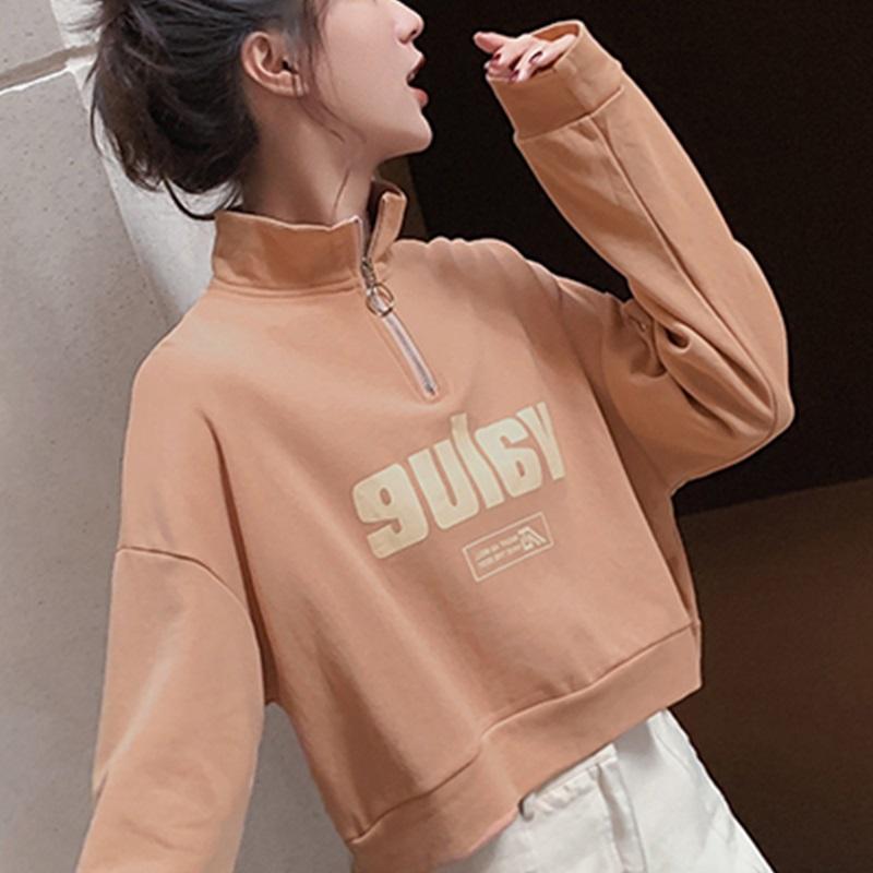 2019秋季女新风潮卫衣ins短款韩版上衣百搭字母学院外套长袖时尚