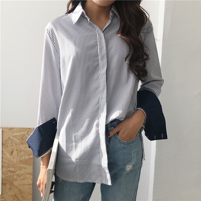 2018 spring women's new Korean version of the chic wind hit color long-sleeved striped shirt loose was thin shirt tide
